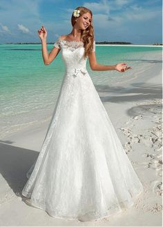 Buy discount Alluring Lace Off-the-shoulder Neckline A-line Wedding Dresses With Lace Appliques at Magbridal.com