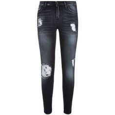 7 For All Mankind Distressed Cropped Skinny Jeans ($370) ❤ liked on Polyvore featuring jeans, pants, mid rise skinny jeans, distressed skinny jeans, destroyed jeans, ripped denim jeans and stretch jeans