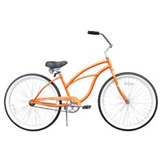 Steel beach cruiser in orange with an oversized spring saddle and whitewall balloon tires.  Product: Beach cruiserCo...