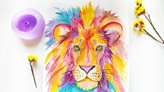 How to Paint Watercolor Lion - DIY Colorful Animals Illustration \ Speed Painting Colorful lion painting tutorial. DIY Modern illustration for wall art. Watercolor Lion, Watercolor Illustration, Watercolor Paper, Watercolor Paintings, Watercolor Ideas, Lion Painting, Painting For Kids, Speed Paint, Colorful Animals