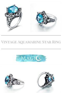 Vintage Aquamarine Star Ring
