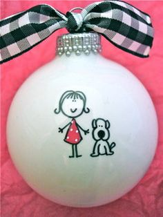 Girl with Dog Ornament, Personalized Girl Ornament, Personalized Dog Ornament, Girl and Dog, Personalized Ornament, Girl Gift, Keepsake Girl by HappyYouHappyMe on Etsy https://www.etsy.com/listing/114695189/girl-with-dog-ornament-personalized-girl
