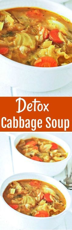 Vegan Cabbage Soup, is the perfect detox soup to shed those unwanted pounds. Vegan Cabbage Soup, is the perfect detox soup to shed those unwanted pounds. Cabbage Soup Recipes, Healthy Soup Recipes, Detox Recipes, Whole Food Recipes, Vegetarian Recipes, Cooking Recipes, Cabbage Diet, Vegetarian Cabbage, Vegetarian Soup