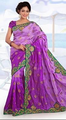 Scintillating Plum Embroidered Saree