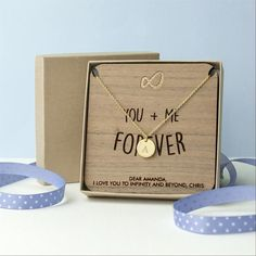 'You + Me Forever' Personalised Single Charm Necklace - Gold (Shown), Silver or Rose Gold