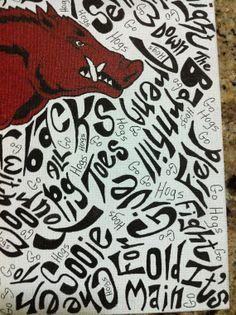 Hand Drawn Arkansas Razorback Wall Art with words only ...   Woo Pig!