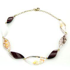 Kette aus blattförmigen Acrylglas-Elementen mit Einschlüssen * Necklace leaf-shaped Acrylic mixed materials * Pyramonte Acrylglas-Design