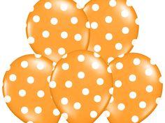 """Balon 14"""" pomarańczowy w białe kropki, 1 szt"""