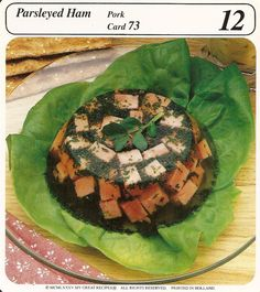 parsleyed ham vintage recipe card  Cubed ham set in a wine-broth and served on butter lettuce is a delightful summer luncheon dish. Serve with crisp rolls and crackers and a mild cheese.