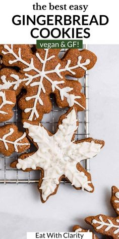 These are the BEST vegan gingerbread cookies! They're gluten free, incredibly easy to make, and filled with lots of ginger spice. This soft and chewy cookie can be made into cutout cookies or just regular drop cookies. These gingerbread cookies are perfect for the holidays and christmas. #gingerbreadcookies #vegangingerbreadcookies