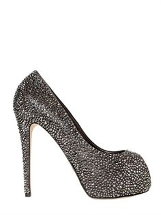 LE SILLA - 130MM ALL OVER SWAROVSKI CALFSKIN PUMPS - LUISAVIAROMA - LUXURY SHOPPING WORLDWIDE SHIPPING - FLORENCE