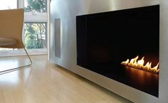 Spark Fireplace from EcoModern Design - Vent Free 3ft  (see also: http://www.sparkfires.com/ventfree/)
