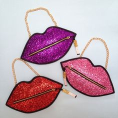 Pink Luna On The Moon Glitter Smoking Lips Clutch Handbag RRP £50.00   eBay