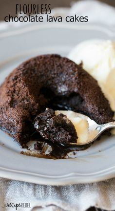 A rich, decadent chocolate lava cake that's made without flour so it's naturally gluten free! The perfect dessert for the holidays or date night in.