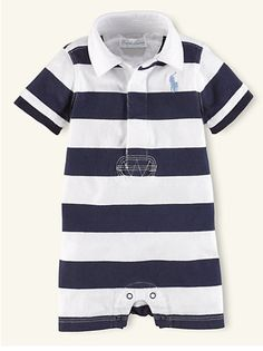 Ralph Lauren Infant Boys Contrast Colorblock Cotton Rugby Shirt Size 6M To 12M
