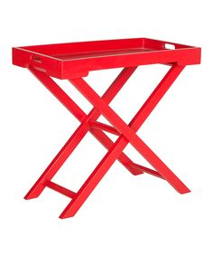 Hot Red Leo Folding Accent Table