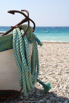 rope, blue, the ocean, at the beach, sea, sail away, boat, beach life, anchor