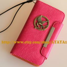 leather Samsung Galaxy S4 case wallet,I9500 phone cover,The Hunger Games Mockingjay Logo , rose red color Samsung Galaxy S4 case