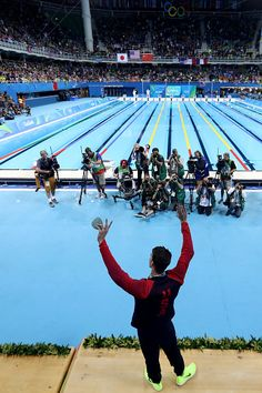 #RIO2016 Gold medalist Michael Phelps of the United States celebrates on the podium during the medal ceremony for the Men's 200m Individual Medley Final on...
