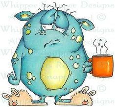 Coffee Monster Morning Unmounted Rubber Stamp Whipper Snapper Designs for sale online Cute Monsters, Little Monsters, Cartoon Drawings, Cute Drawings, 365 Kawaii, Art Fantaisiste, Art Mignon, Happy Paintings, Fun 2 Draw