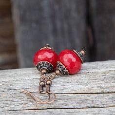 gabi111 / Červený jadeit - rondelky - náušnice