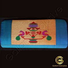 Buy Teal Blue Paithani Purse online USA and Canada Purses Online, Peacock Design, Silk Material, Motif Design, Gold Flowers, Teal Blue, Continental Wallet, Canada, Usa