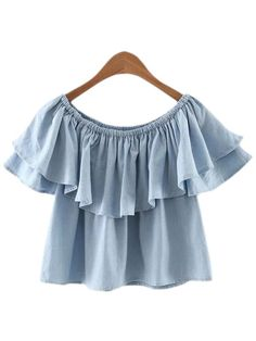 Light Blue Boat Neck Double Layers Ruffle Blouse.