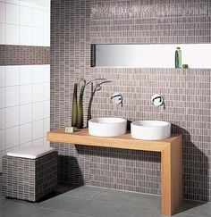 Mosaic Lines is the new mosaic tiles range from Steuler Fliesen. Contemporary look that goes with natural wood tones. Bathroom Tiles Images, Modern Bathroom Tile, Mosaic Bathroom, Bathroom Tile Designs, Glass Bathroom, Bathroom Flooring, Bathroom Fixtures, Funky Bathroom, Diy Bathroom Decor