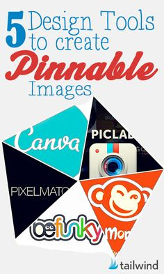 5 Design Tools to Create Pinnable Images :I chose this Pin because it gives you vital information for creating an eye-catching tools to attract potential Pinners.