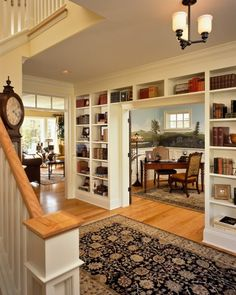 Adding bookshelves in the hallway can increase your storage dramatically and with only using a few additonal inches of your home, in a hall they won't be a problem as a bookshelf might limit furniture arrangement options in a living area or bedroom. dining rooms, books, bookcases, living rooms, shelves, foyer, librari, hous, hallway
