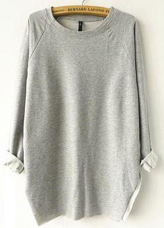 Grey Long Sleeve Loose Sweatshirt - Sheinside.com