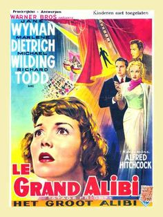 STAGE FRIGHT (Le Grand Alibi) French movie poster, Alfred HITCHCOCK