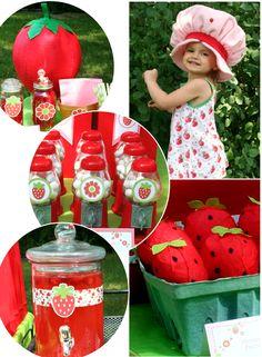 Strawberry Shortcake Birthday Party  + 3 DIY Strawberry Party Tutorials via Bird's Party  #strawberry #birthday #party #partyideas #DIY #strawberryshortcake #partycrafts