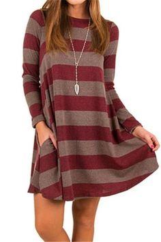 online shopping for JooMeryer Women's Long Sleeve Casual Stripes Loose Knit T-Shirt Dress from top store. See new offer for JooMeryer Women's Long Sleeve Casual Stripes Loose Knit T-Shirt Dress Casual Chic, Dress Casual, Casual Fall, Casual Wear, Tunic Tops For Leggings, Dress Leggings, Swing Dress With Pockets, Dress Pockets, Striped Midi Dress