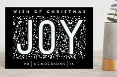 """Joy"" - Holiday Petite Cards in Frozen Silver by Ilze Lucero."