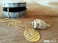 Handmade gold plated Shell pendant necklace by UNIQ|JWLZ www.facebook.com/uniqjwlz