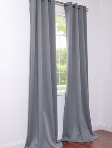 Grommet Neutral Grey Blackout Curtains & Drapes