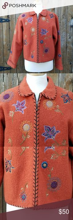 Icelandic Designs Boucle Wool Blend Jacket Coat Size Medium Orange Boucle Zips up the front Zipper pocket on each side Embroidered Flowers on front, back & sleeves Fully Lined Shell is 94% Wool & 6% Cotton Lining is 100% Polyester  Measurements Bust is 42 inches Sleeve Length is 23 inches Length of jacket is 22 inches  Jacket is in excellent pre-owned condition! Icelandic Designs Jackets & Coats