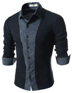 "Men's ""Bristol"" 2-Tone Knit Long Sleeve Shirt – Tattee Boy Clothes"