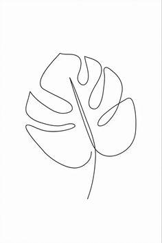 Minimalist Drawing, Minimalist Art, Colorful Drawings, Easy Drawings, Simple Line Drawings, Art Abstrait Ligne, Outline Art, Leaf Outline, Abstract Line Art