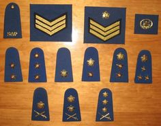 Complete set of SOUTH AFRICAN POLICE FORCE rank insignia - pre 1996 Tactical Survival, The Old Days, South Africa, Police, Old Things, Southern, Army, African, Military