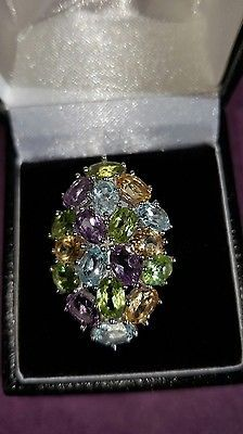 ❤JAYNES GEMS  6CT TOPAZ ,PERIDOT 14CT W GOLD /,925 SOLID SILVER RING SIZE Q