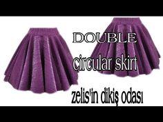 ÇOCUK KLOŞ ETEK..DOUBLE FLARED SKIRT #doubleskirt #dubleklos #childrenskirt - YouTube Flared Skirt, Skater Skirt, Umbrella Skirt, Sewing, Skirts, Pattern, Dresses, Fashion, Patterns