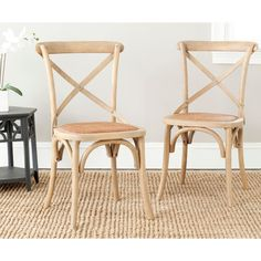 These simple, elegant chairs have a cross back and curved supports made from oak wood that makes them a welcome addition in any home. These pre-assembled chairs are made with a full solid frame for support and solid sturdy seating.