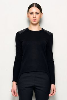 Black Sweater with Leather Detail  Black Sweater  by garylindesign, $69.00