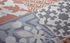 Sol vinyle TEXLINE, carreau ciment rouge, rouleau 2 m | Saint Maclou