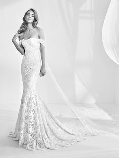 Wedding Dresses by Atelier Pronovias (RANI), silhouette mermaid / trumpet, neckline off-the-shoulder, long, with sleeves