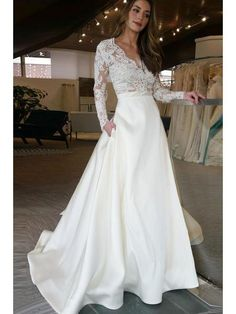 a20606ce35d Long Sleeve Wedding Dresses See Through Lace Top Ivory Wedding Dresses  AWD1140-SheerGirl Country Wedding