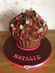 giant cupcake cakes Chocolate n Roses Giant Cupcake Giant Cupcake Recipes, Giant Cupcake Cakes, Cupcake Flavors, Fun Cupcakes, Mini Cakes, Sweet Cakes, Cute Cakes, Big Cupcake, Giant Chocolate