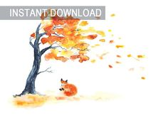 Fox wall art tree fall autumn watercolor painting jpg Foxy decor file for print Drawing orange wind leaves Instant download printable image